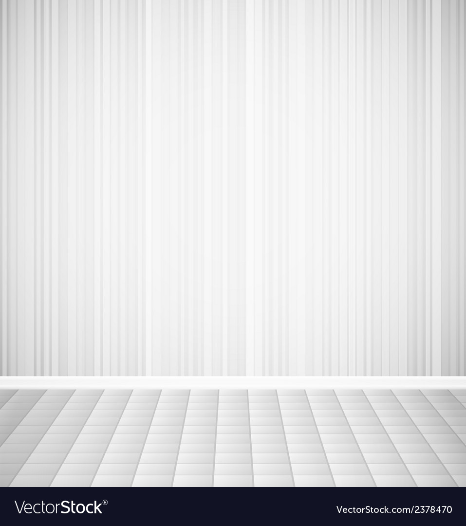Bright empty room with striped wall and square vector image