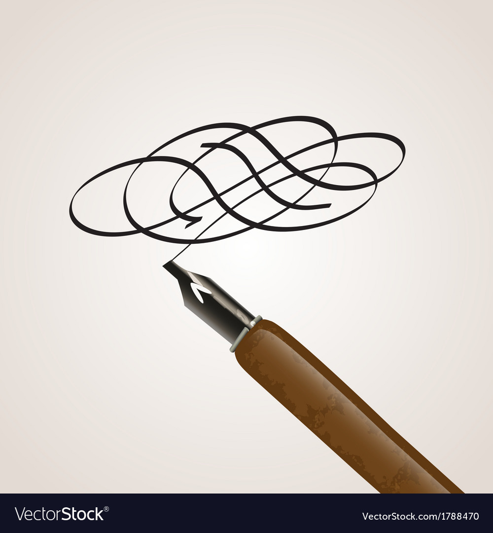 Calligraphy pen made of a twirl vector image