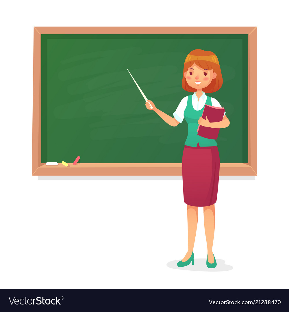 chalkboard and teacher female professor teach at vector image