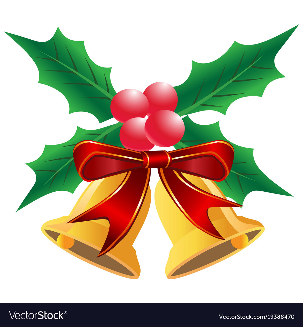 Christmas holly leaf with bells