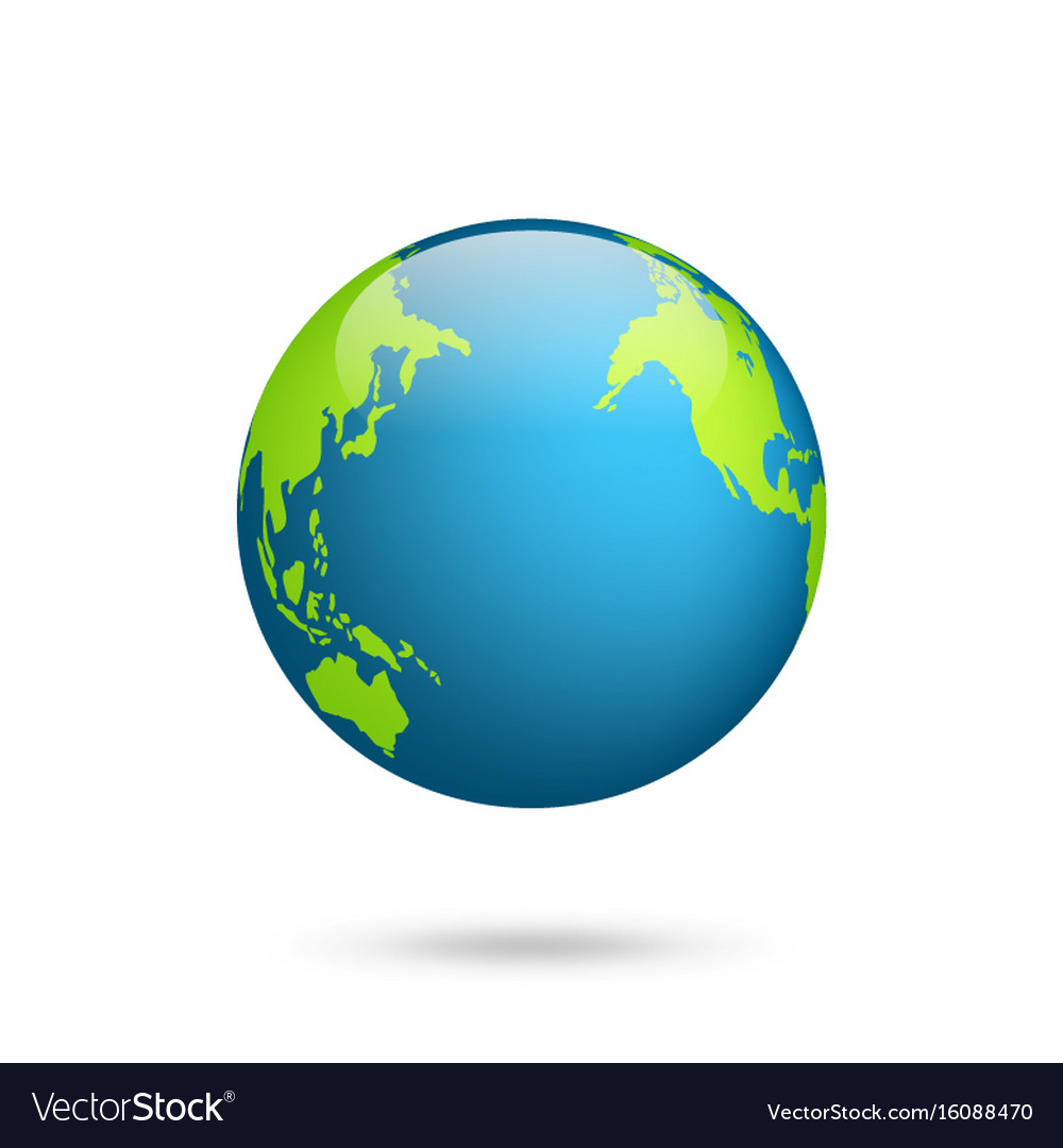 Earth globe world map set planet with continents