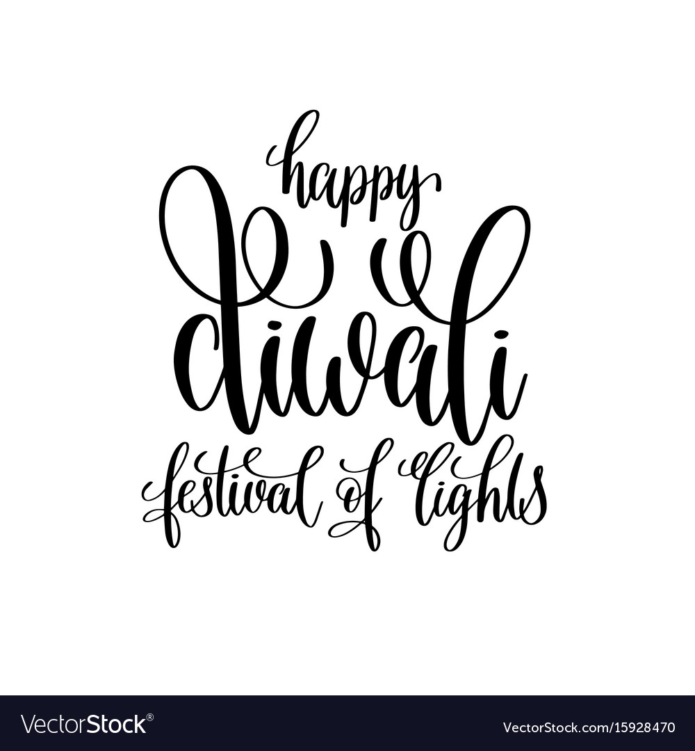 Diwali black and white card happy festival holiday vector images 34