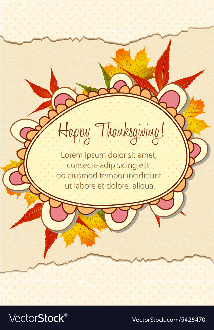 Happy thanksgiving day with doodle frame Vector Image