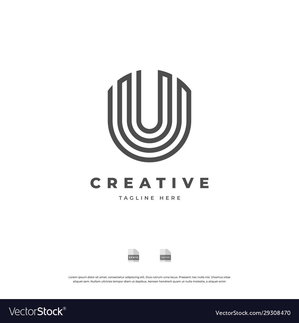 Letter u with black line monogram logo design