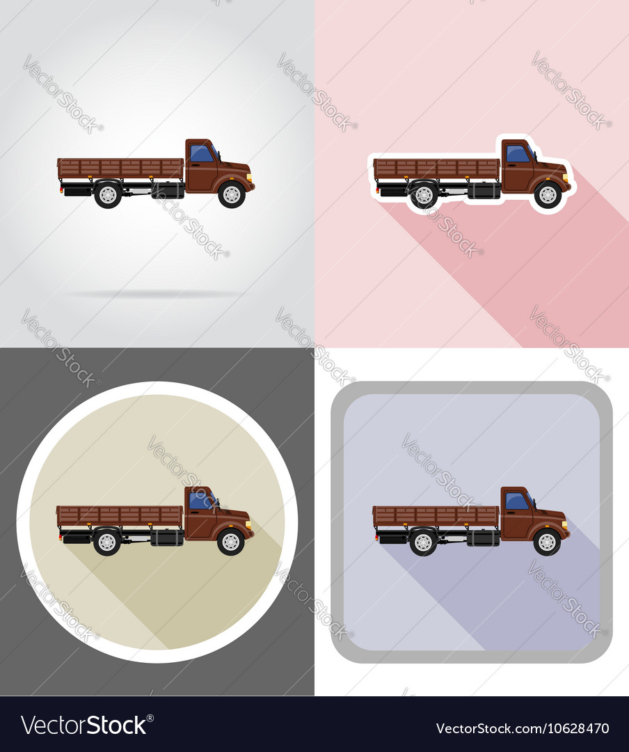 Truck flat icons 01