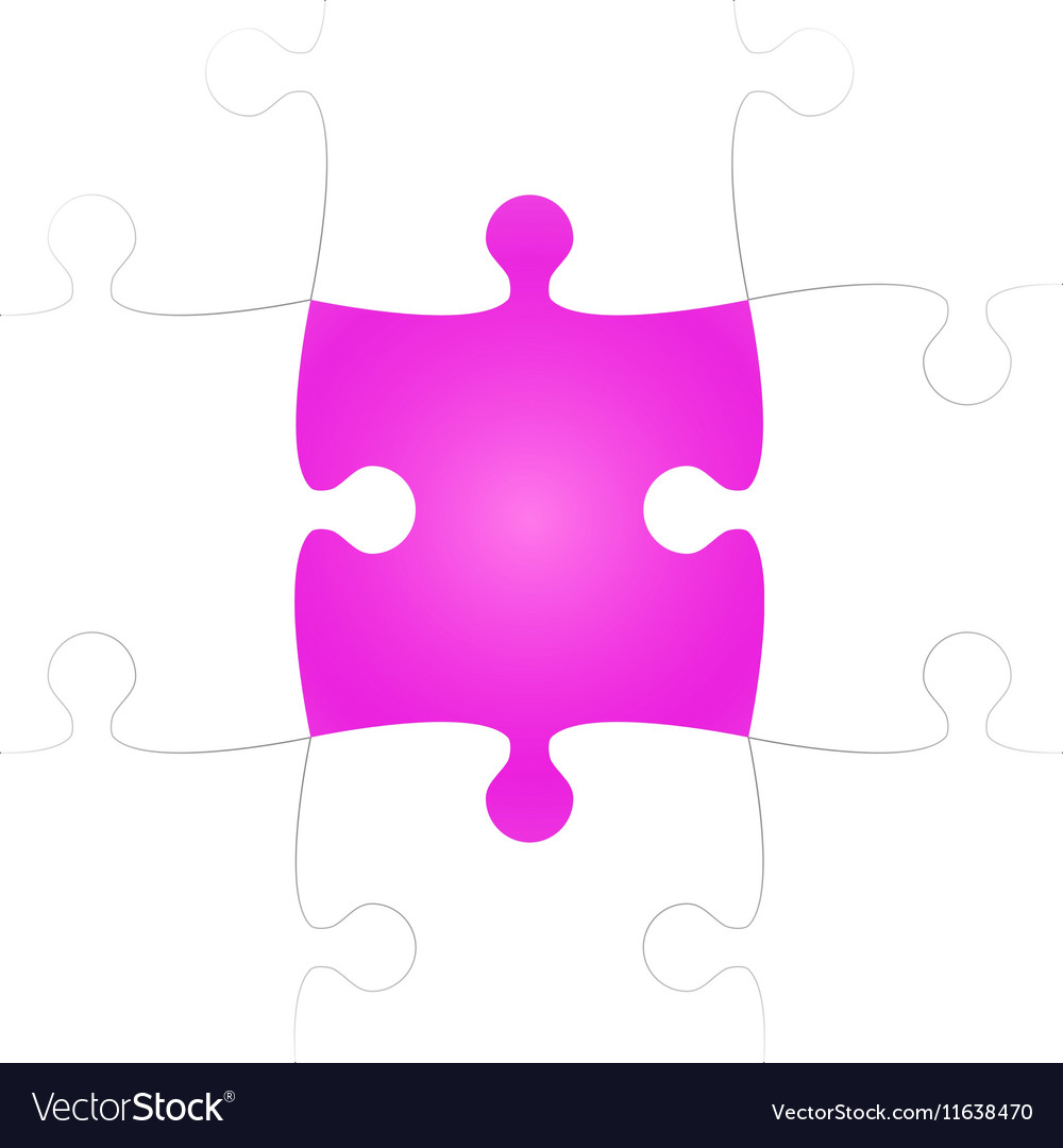 White Puzzle Pieces with One Pink Missing vector image