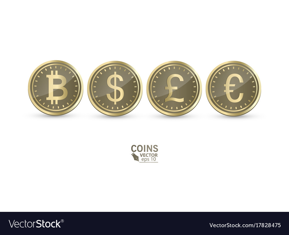 A set of icons of coins on the isolated white