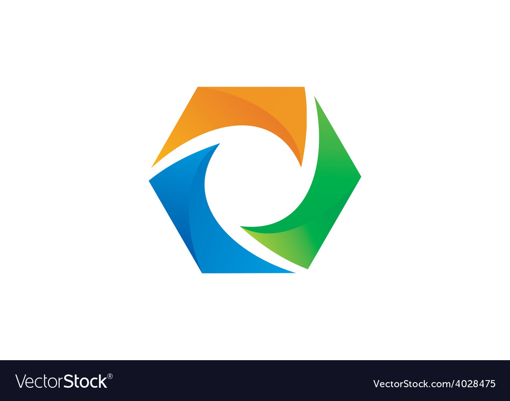 Abstract 3D polygon color logo vector image