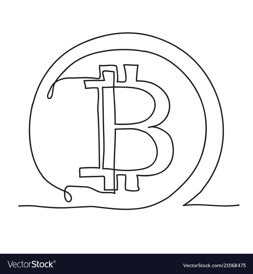 Bitcoin continuous line icon cryptocurrency
