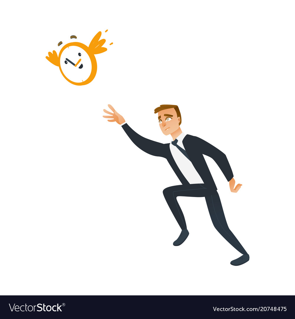 Businessman and time theme with late business