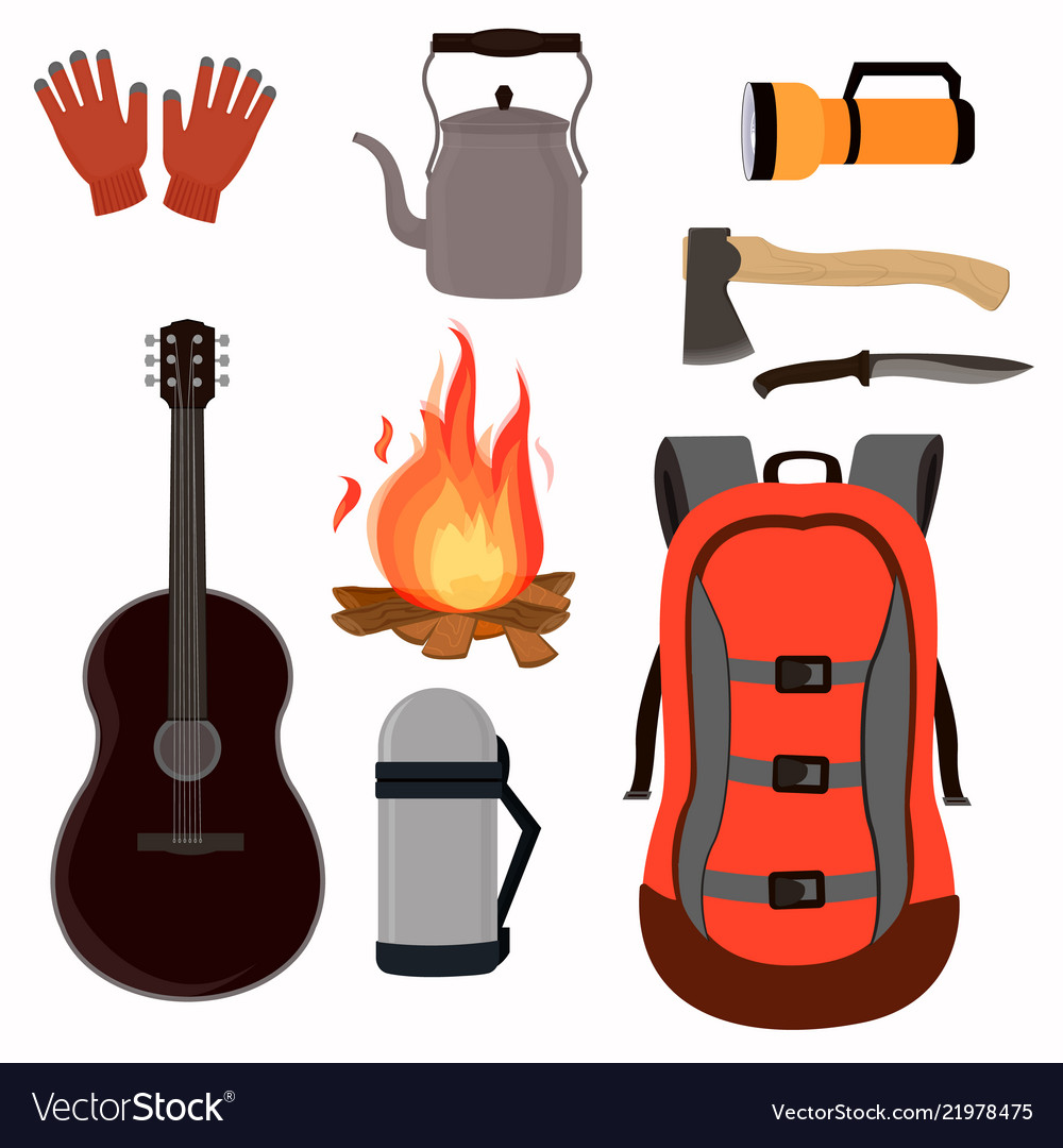 Collection of assembled sets for camping backpack