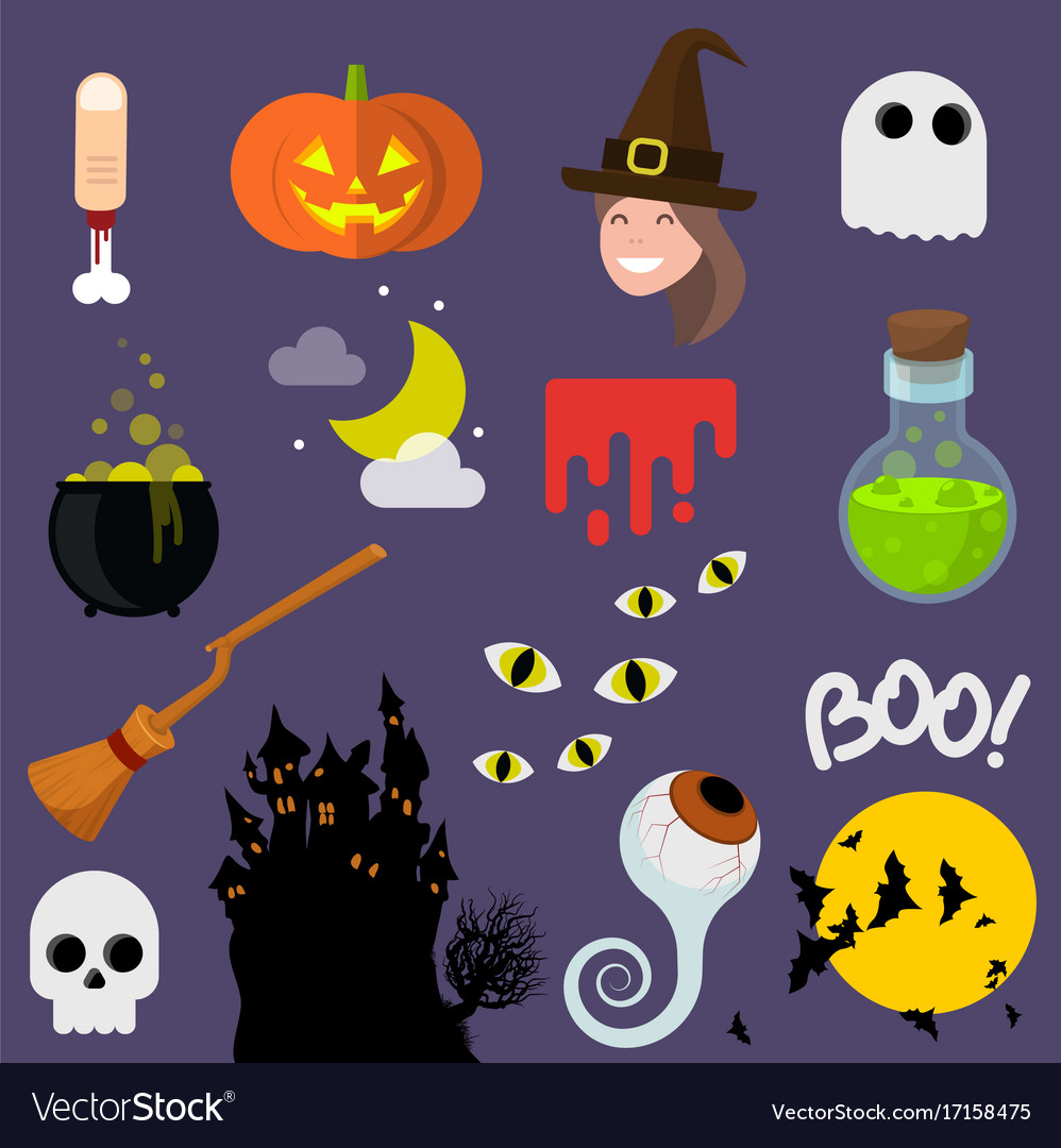 Flat design halloween icons vector image