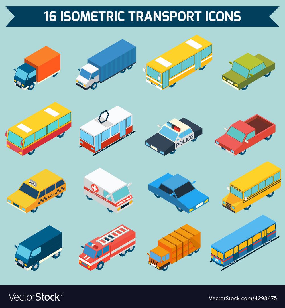 Isometric Transport Icons Set vector image