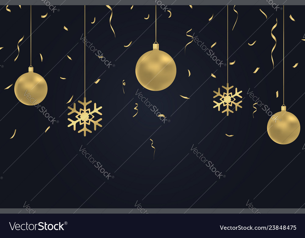 New year dark background with gold christmas balls