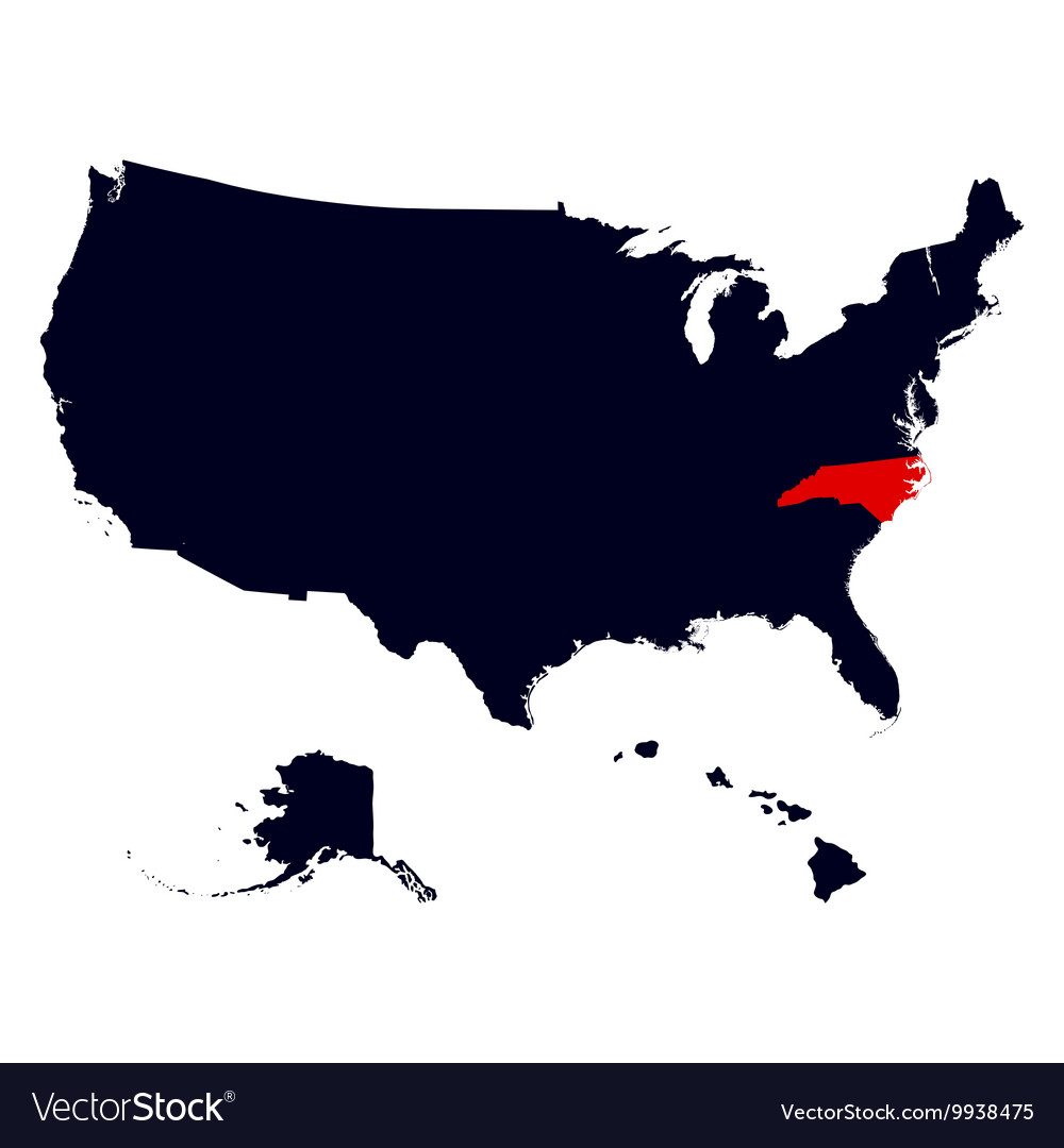 North Carolina State in the United States map Vector Image