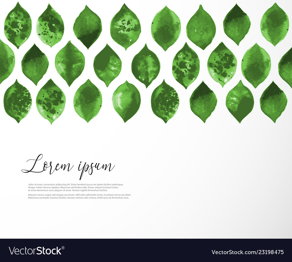 Pattern with green leaves on white background