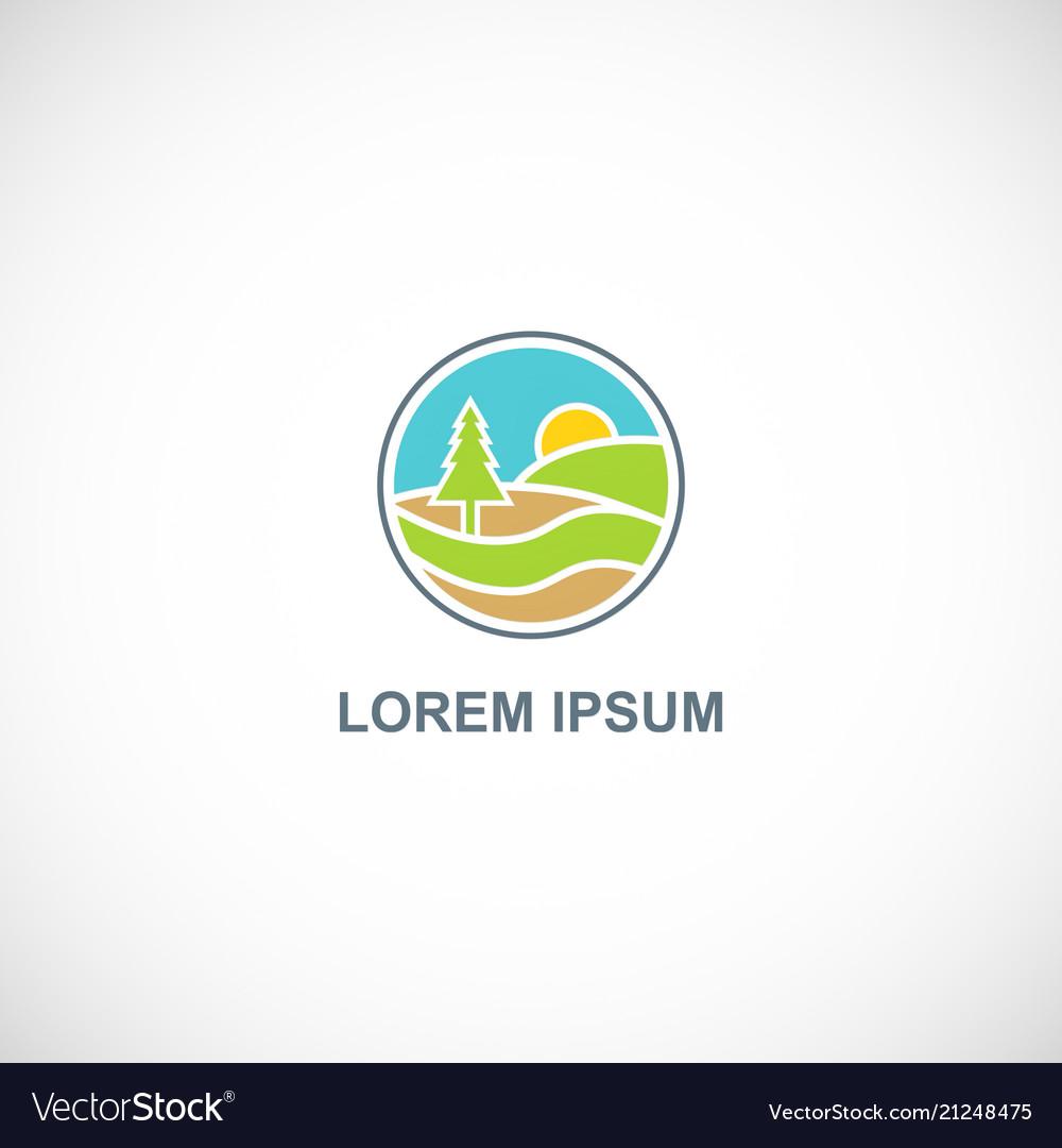 Pine tree landscape nature logo