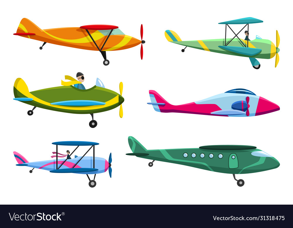 Retro airplane set collection old airplane vector