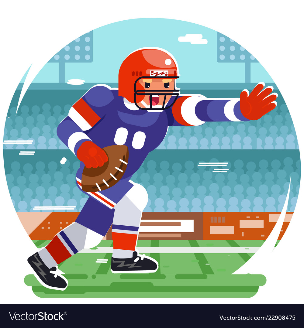 Running american football rugby player chatacter