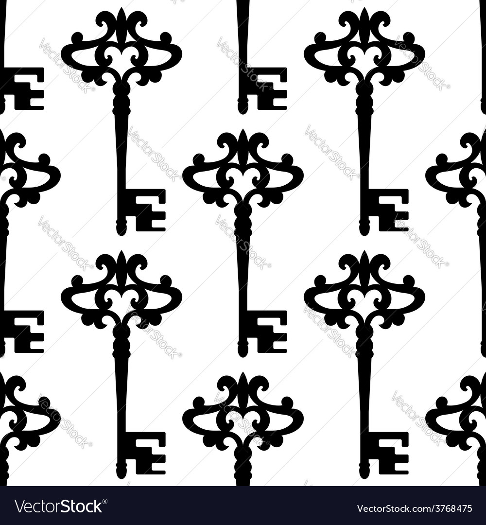 Seamless background pattern of a vintage keys vector image