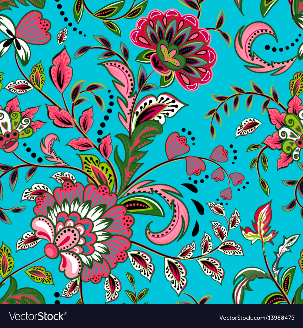 Seamless pattern with fantasy flowers natural