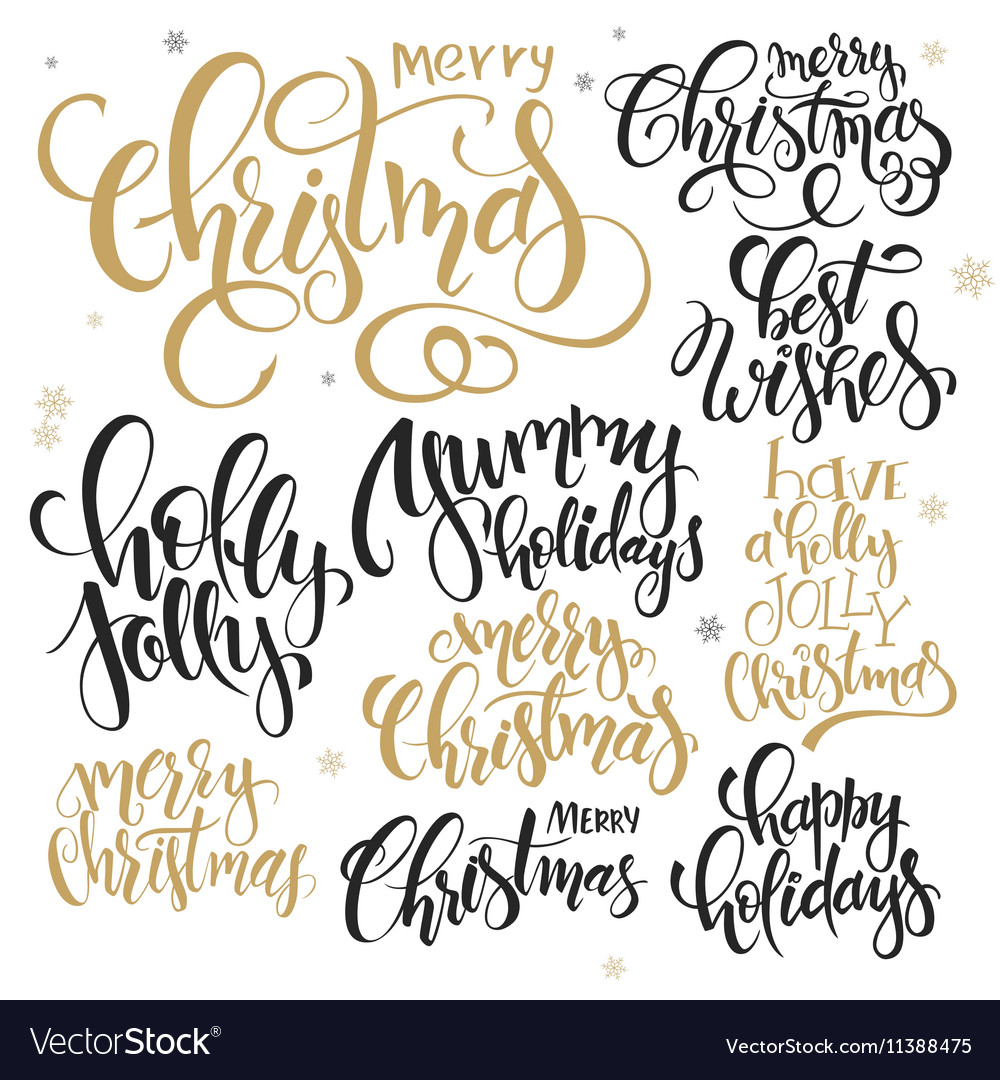 Set of hand lettering christmas quotes Royalty Free Vector