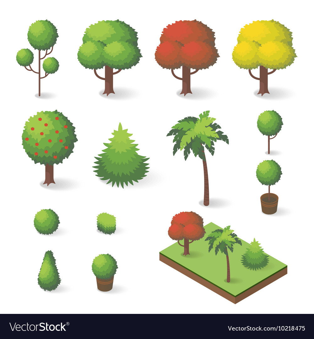 Set of isometric various trees vector image