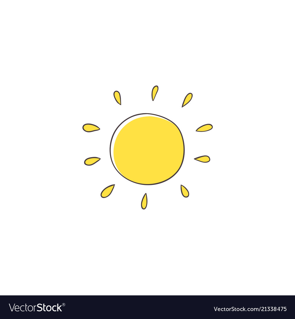 Stylized simple na ve hand drawing of yellow sun