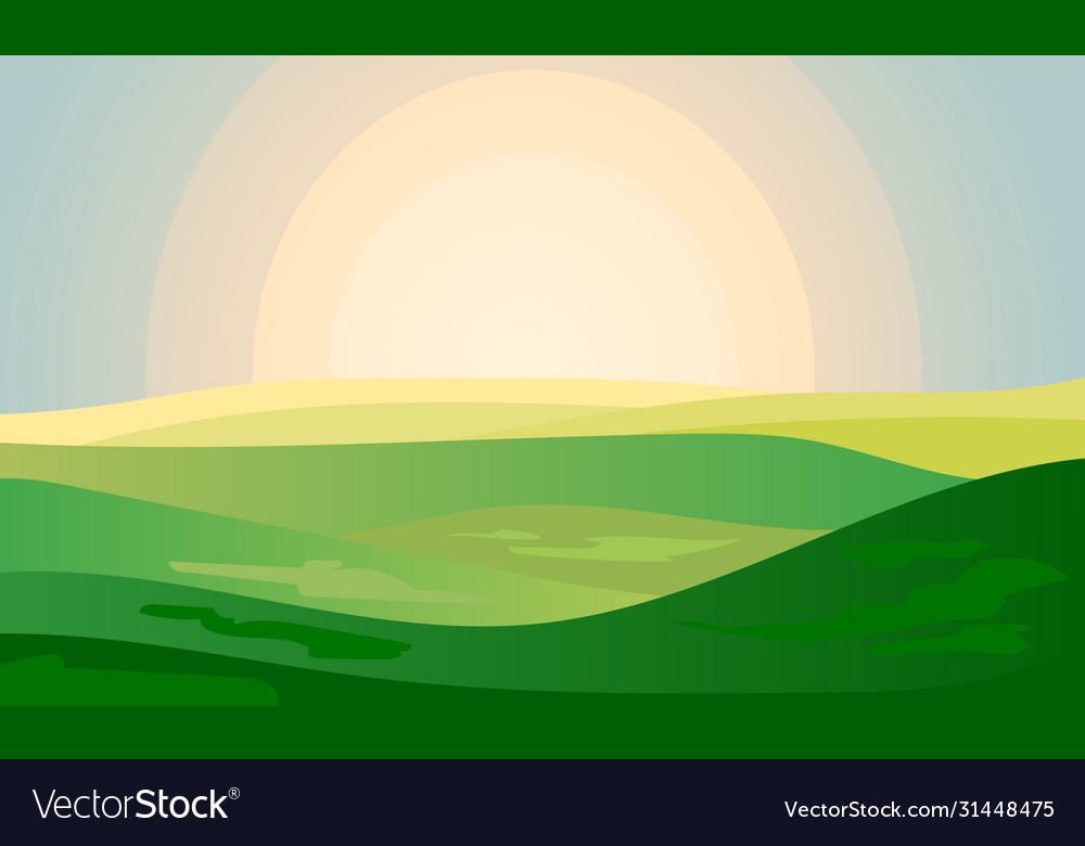 Summer green landscape field dawn above hills with