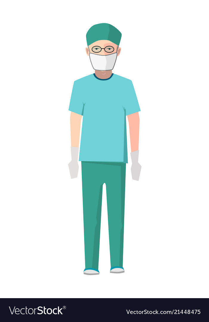 Surgeon in green medical uniform and white gloves