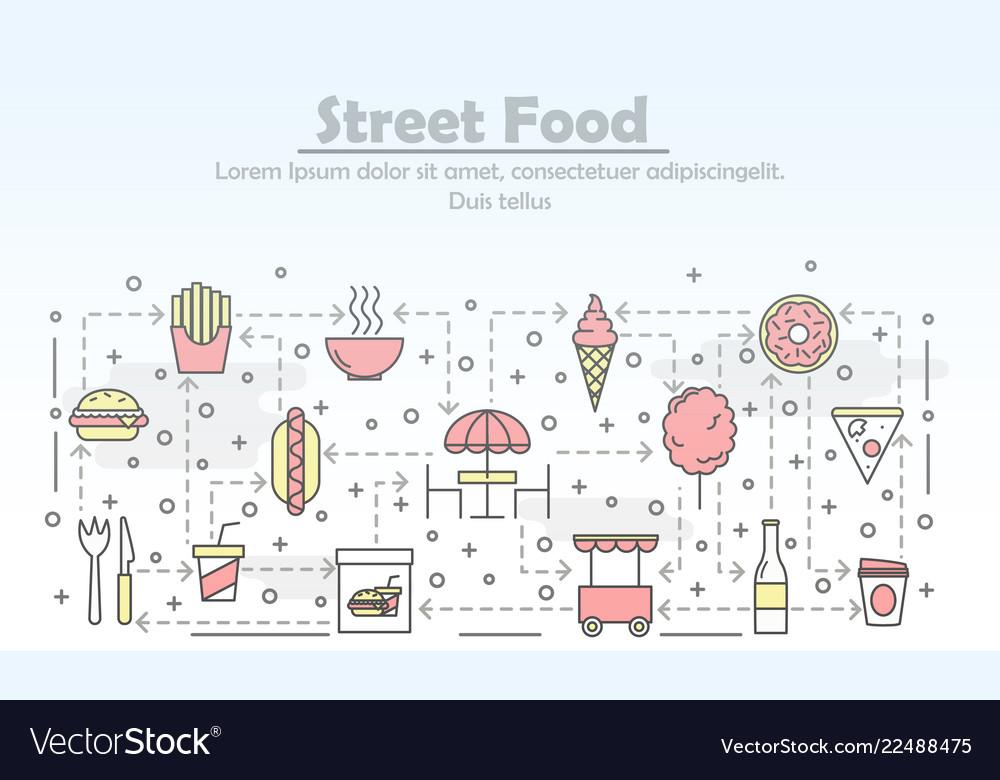 Thin line art street food poster banner