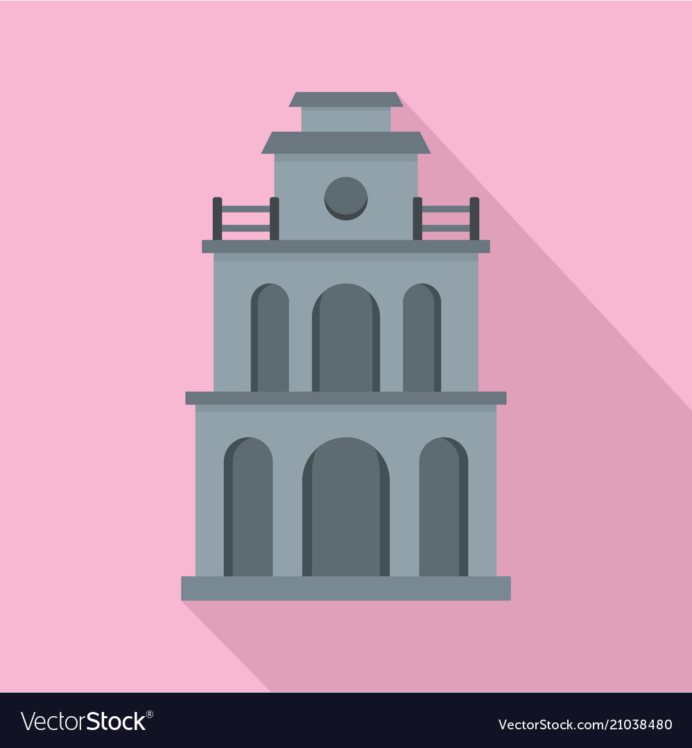 Clock building icon flat style