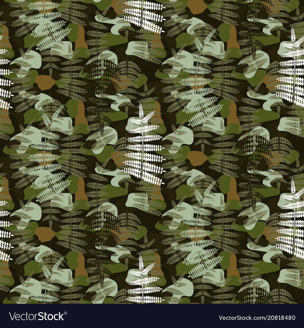 Fern leaves camouflage nature seamless pattern