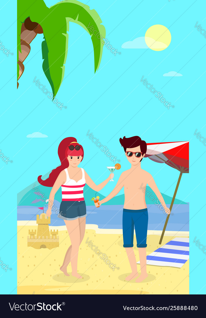 Happy family at beach party smiling man and woman