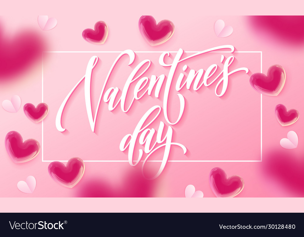 Happy valentines day lettering text and valentine