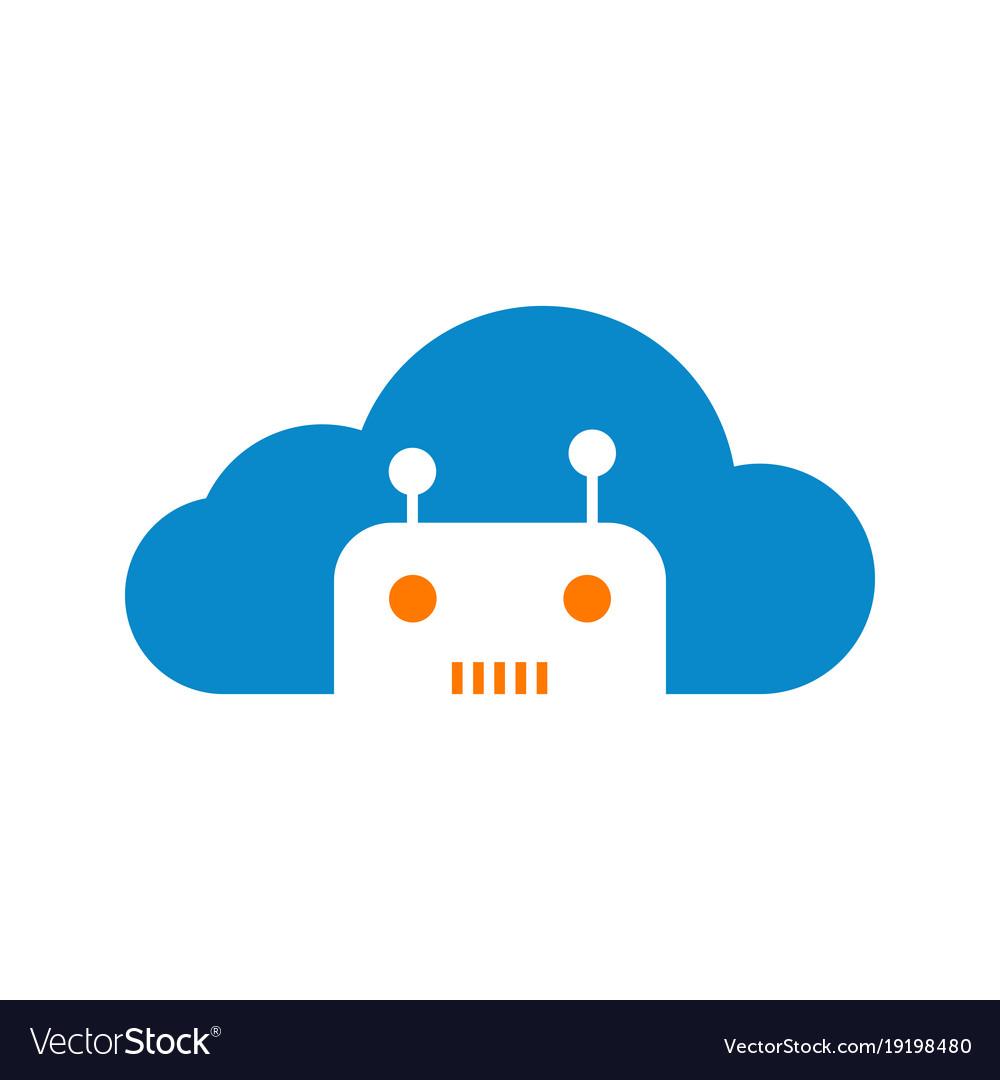 modern robotic cloud technology logo graphic vector image rh vectorstock com cloud graphic vector cloud graphic vector