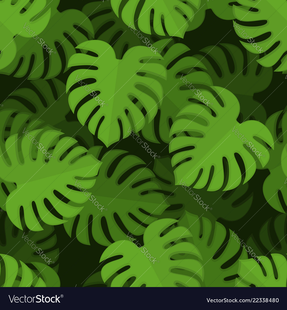 Monstera seamless pattern tropical leaves