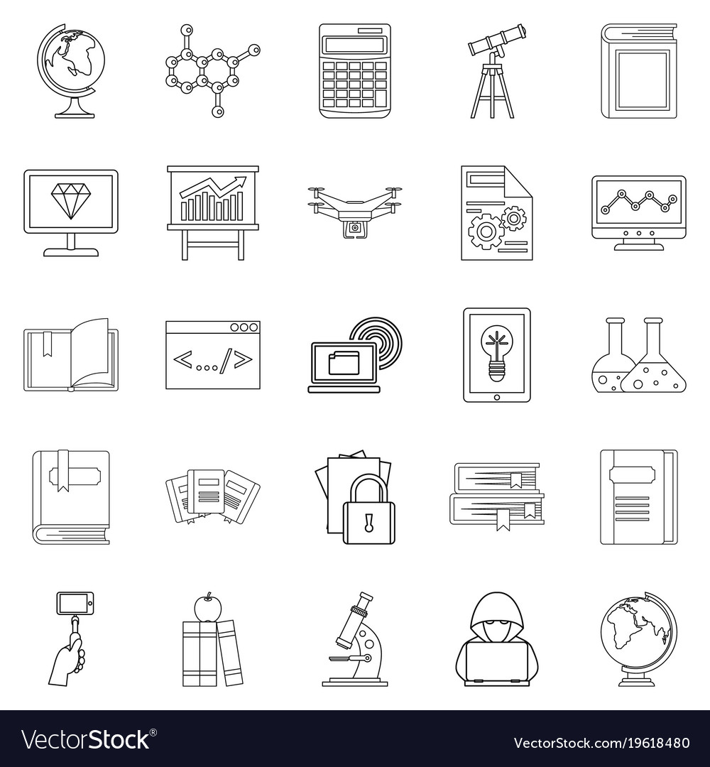 Robotics Icons Set Outline Style Royalty Free Vector Image