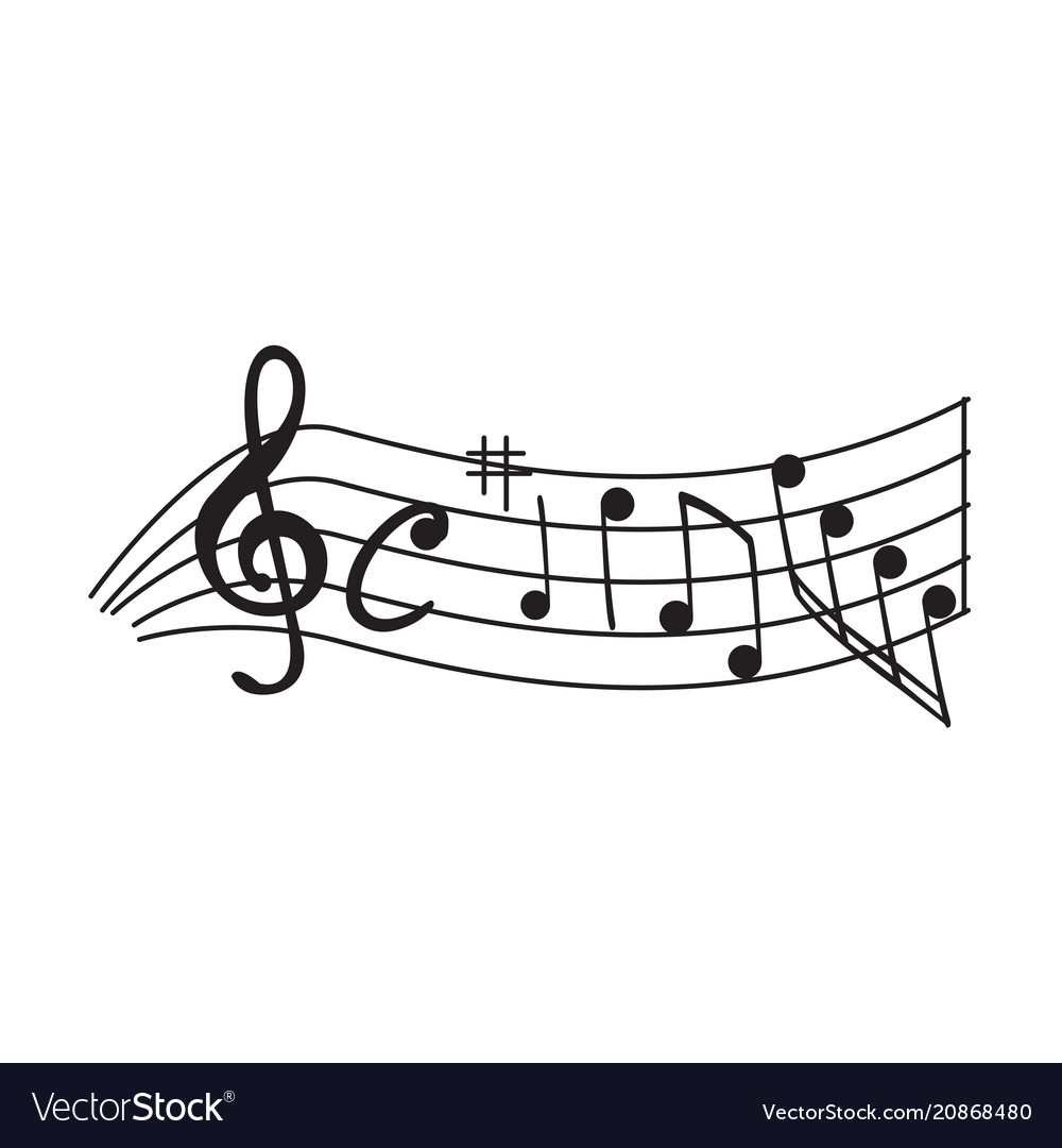 Set of musical notes on a pentagram vector image
