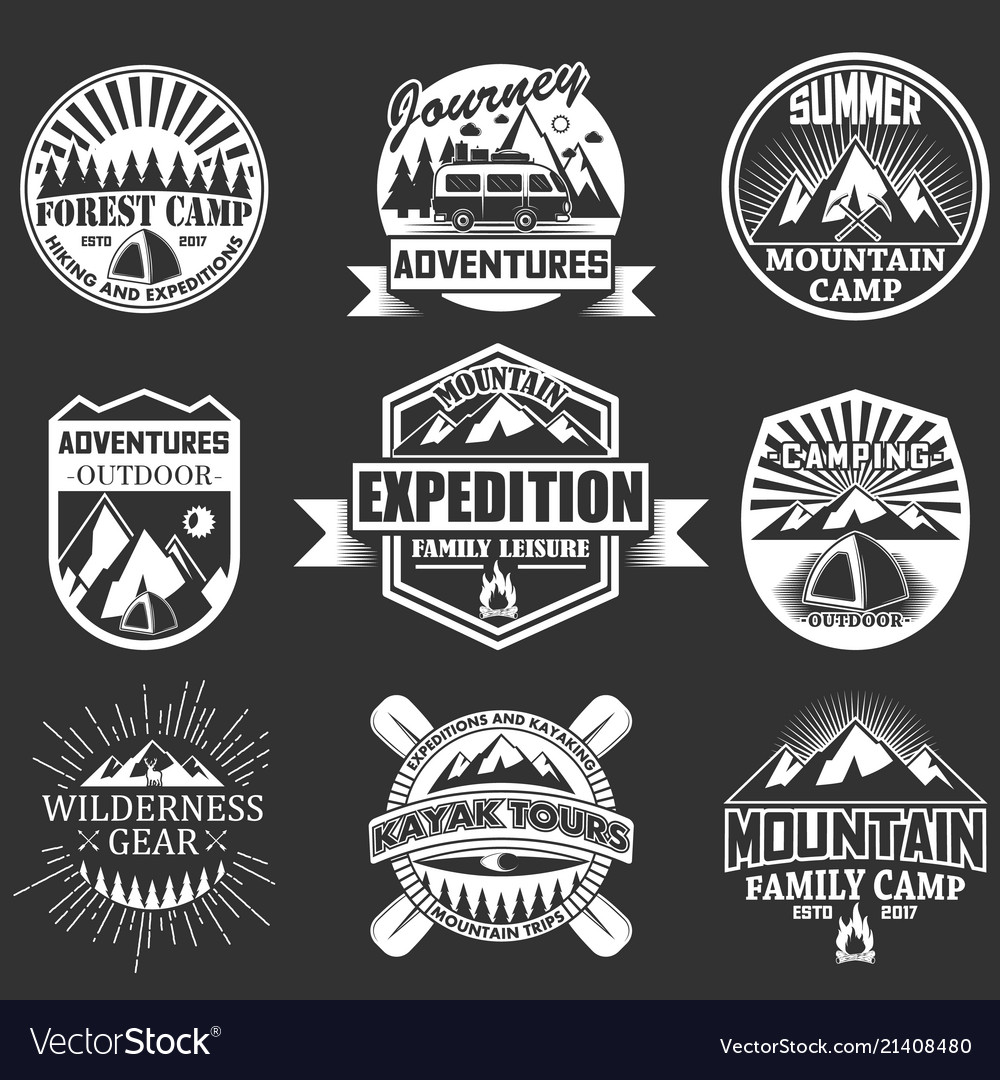 Set outdoor adventure labels emblems