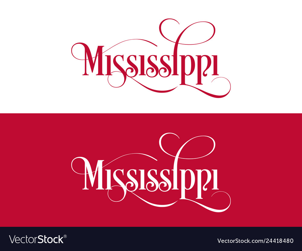 Typography of the usa mississippi states