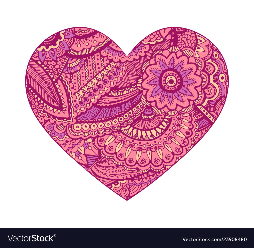 Valentine heart floral ornament hand