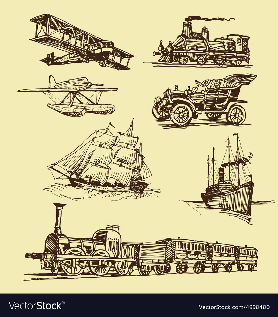 Vintage Transportation Drawings Royalty Free Vector Image