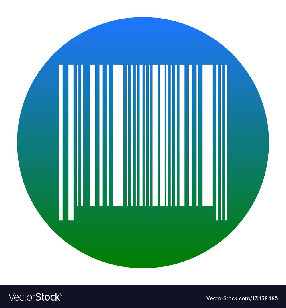Bar code sign white icon in bluish circle