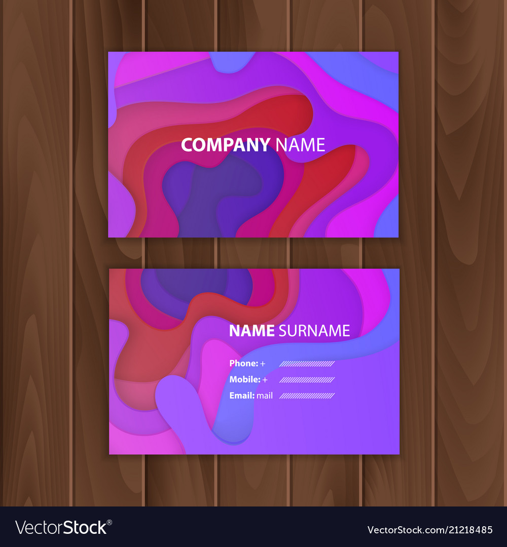 Business card template with colorful abstract