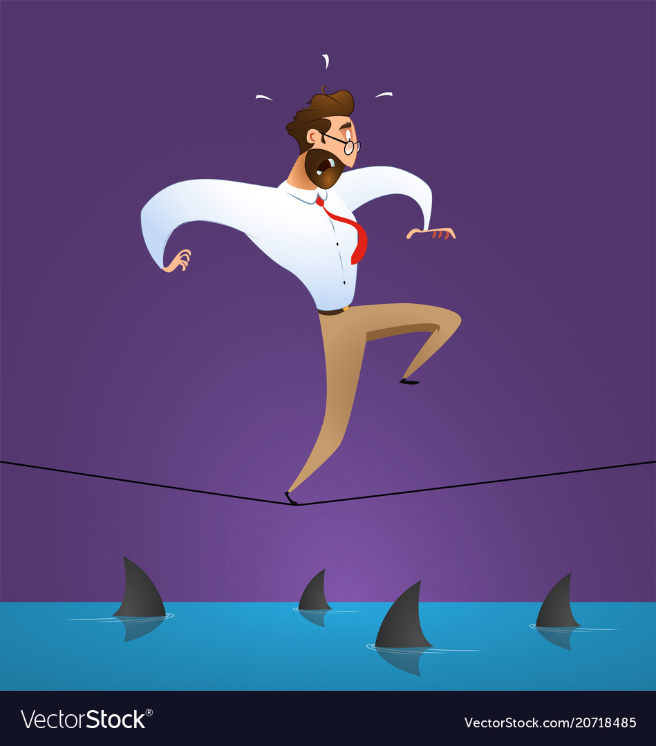 Businessman crawling over a sea of sharks