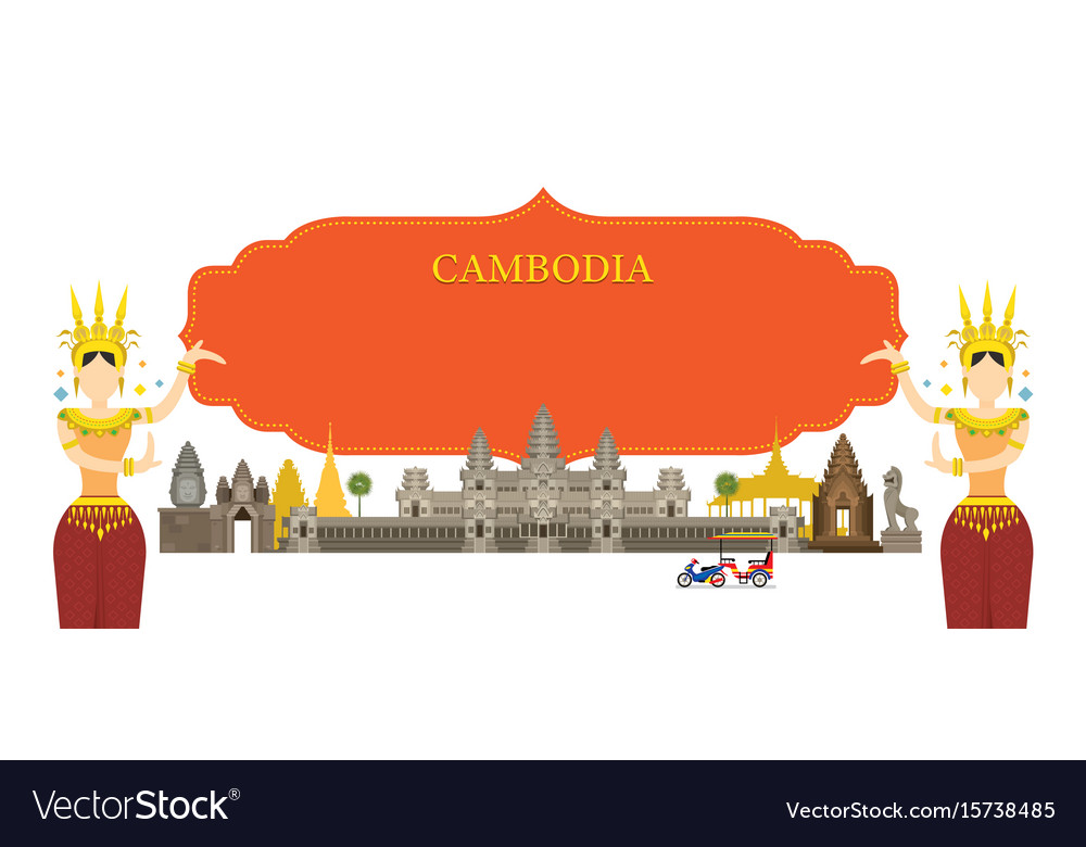 Cambodia landmarks traditional dance frame vector image
