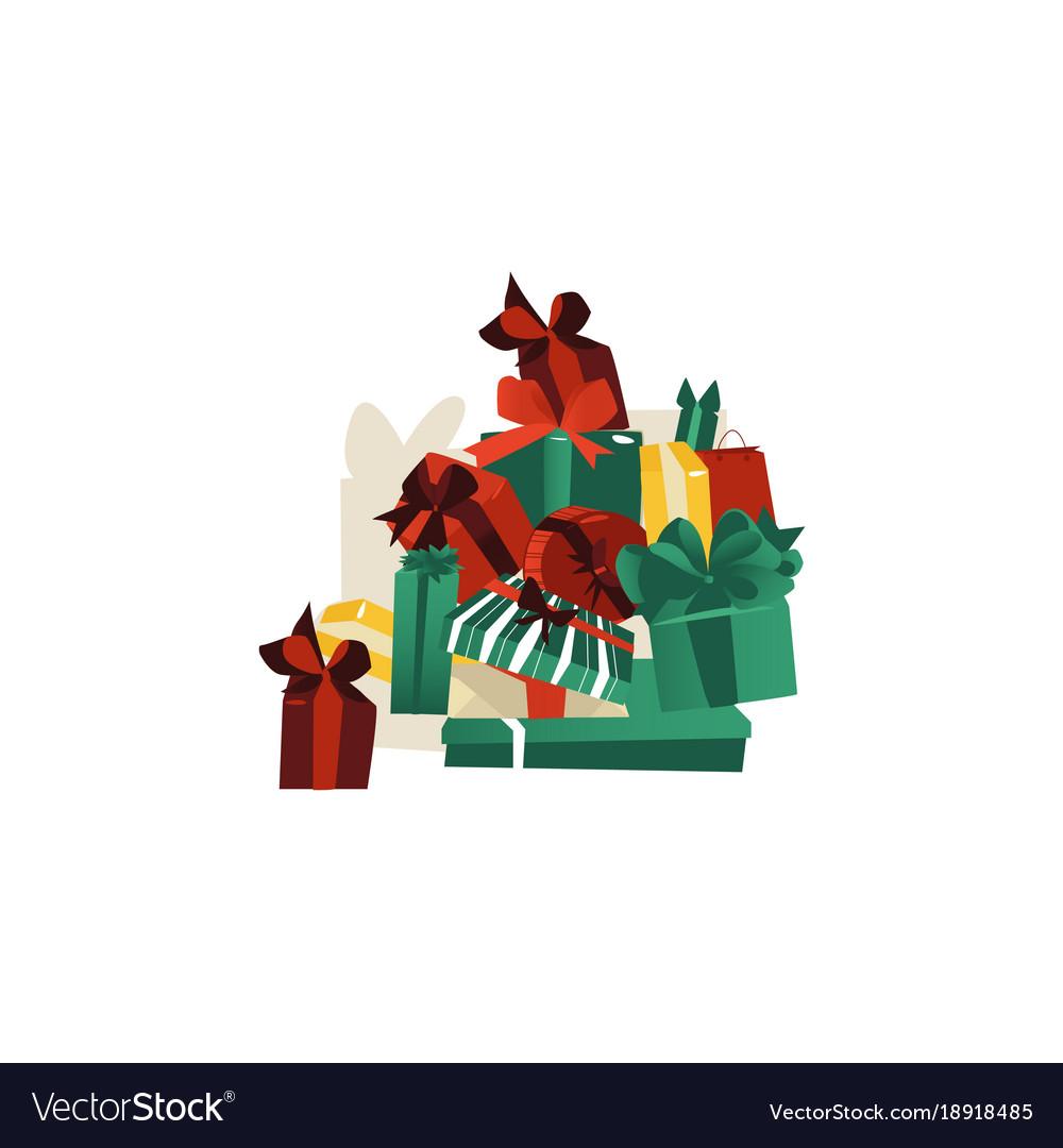 Cartoon big pile of christmas present boxes Vector Image