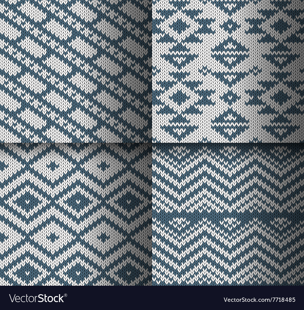 Collection of monochrome seamless knitted patterns