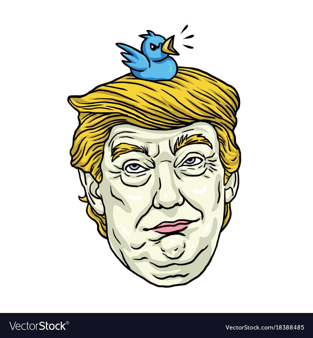 Image of: Vector Dans Cartoons Donald Trump With His Pet Bird Cartoon Caricature Vector Image